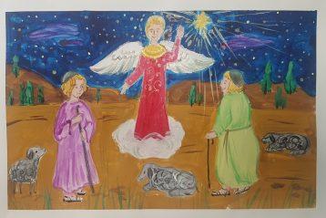 «Явление Ангела пастухам». Автор: Ксения Привалова, 8 лет. I место