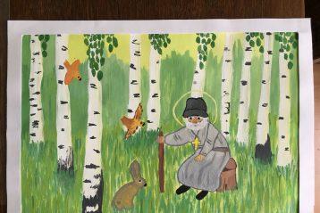 «Батюшка Серафим Саровский». Автор: Александра Синицина, 8 лет. I место