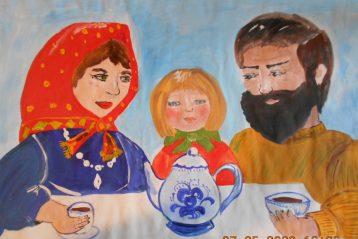 «Благодарное чаепитие». Автор: Виктория Клюева, 9 лет. III место