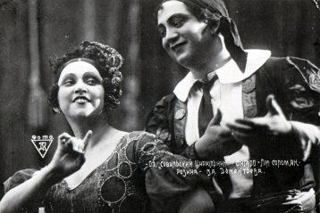В. Дементьева (Розина) и Л. Соломяк (Фигаро) в опере Дж. Россини  «Севильский цирюльник», 1936г.