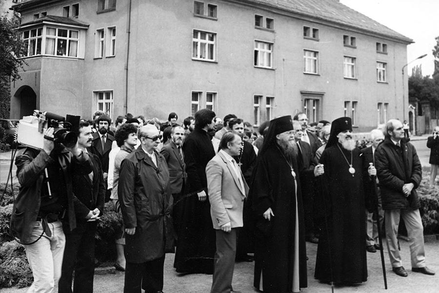 Возложение венков к памятнику встречи на Эльбе в Торгау в июне 1985 года