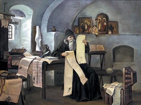Летописец Лаврентий, инок Печерского монастыря. Худ. М. Важаев