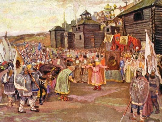 Великий князь Георгий Всеволодович встречает своего  брата Святослава