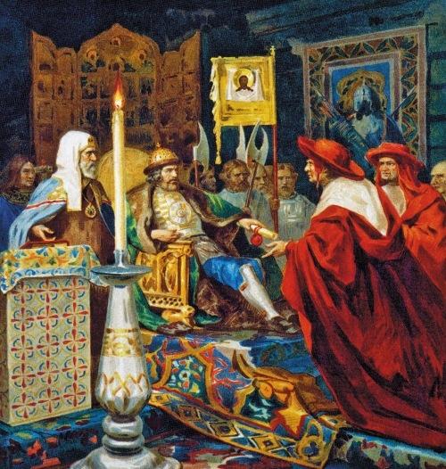 Князь Александр Невский принимает послов папы Иннокентия IV. Худ. Г. Семирадский