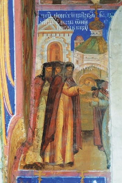 Св. архимандрит Дионисий принимает отрока  Евфимия в братию Печерского монастыря.  Фреска Спасо-Преображенского собора  Евфимиевского монастыря г. Суздаля
