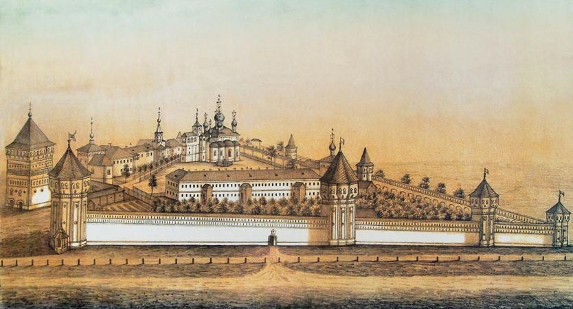 Спасо-Евфимиевский Суздальский монастырь.  Хромолитография кон. XIX в.