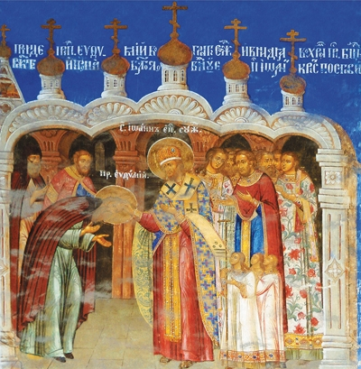 Святитель Иоанн, епископ Суздальский, возводит  преподобного Евфимия в сан архимандрита.  Фреска Спасо-Преображенского собора  Евфимиевского монастыря г. Суздаля