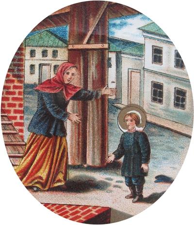 Мать находит отрока Прохора живым и невредимым после падения с колокольни. Хромолитография нач. XX в.