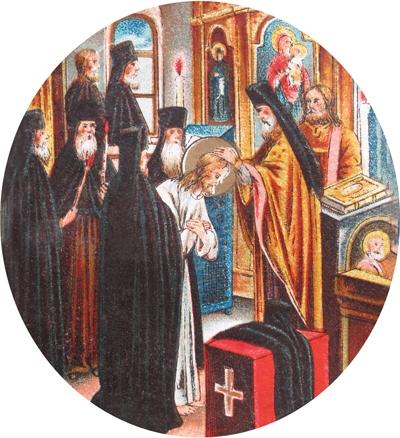 Пострижение в монахи Прохора Мошнина с именем Серафим. Хромолитография нач. XX в.