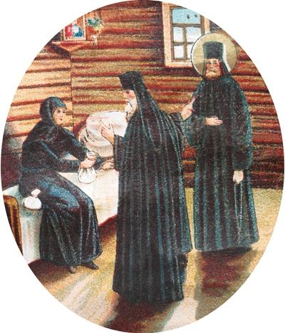Матушка Александра поручает сирот дивеевских отцу Пахомию и св. прп. Серафиму Саровскому. Хромолитография нач. XX в.