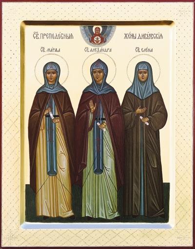 Икона свв. прпп. Марфы, Александры и Елены Дивеевских