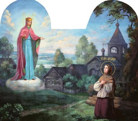 Явление Божией Матери прп. Александре. Настенная роспись Казанской церкви Дивеевской обители