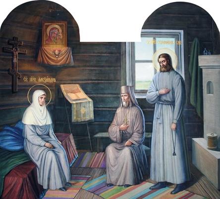 Прп. Александра поручает сестер прп. Серафиму. Настенная роспись Казанской церкви Дивеевской обители