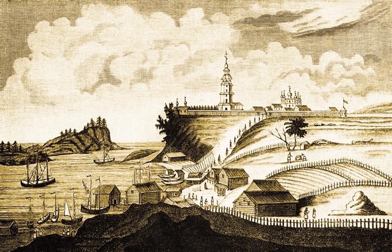 Вид Валаамского монастыря. Гравюра XX в.