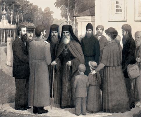 Преподобный Тимон беседует с богомольцами