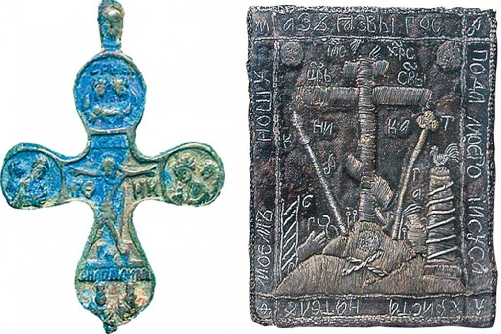 Нательный крест и параман из могилы св. прп. Тимона