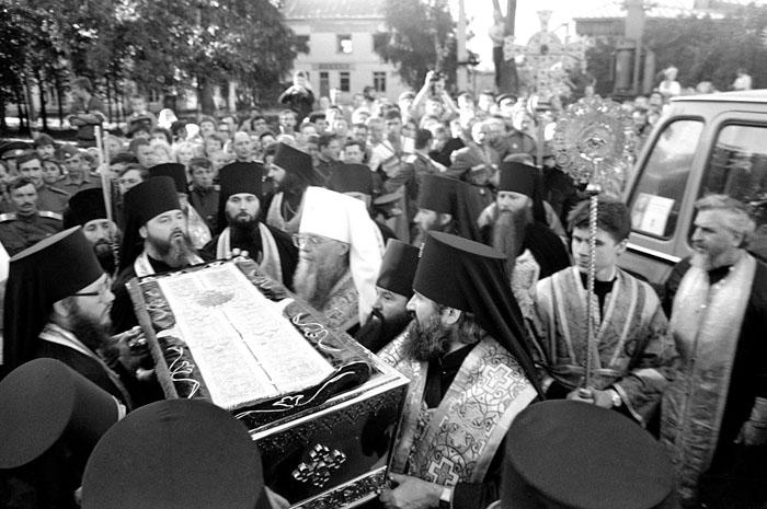 Прибытие мощей преподобного Серафима Саровского в Дивеево, 31 июля 1991 г.