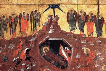 Рождество Христово сизбранными святыми. Конец XV в. Поворот Богородицы от Младенца говорит оЕе внимании к людям. Длявсех Она отныне станет Утешительницей иПредстательницей уПрестола Божиего.