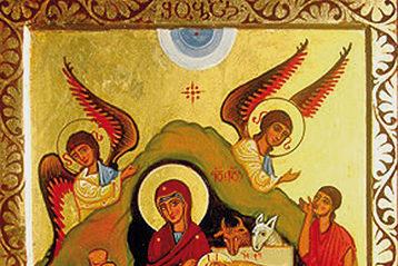 Рождество Христово. Современная икона (Грузия). Волхвы протягивают Богомладенцу свои дары: золото— как Царю, ладан— Богу, смирну (благовоние)— Человеку, готовому ксмерти.
