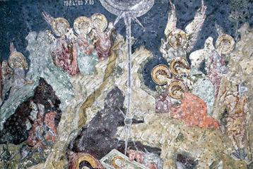 Рождество Христово. XIV в. Фреска вхраме СвятыхАпостолов вПечском монастыре (Сербия)