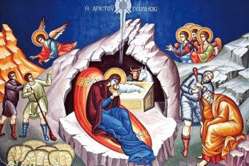 Рождество Христово. Современная фреска (Греция)
