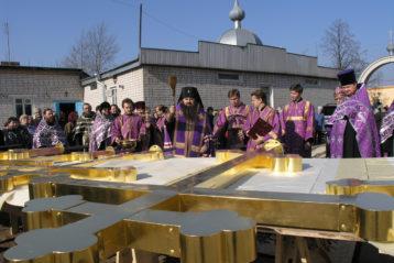 Освящение крестов  Успенского храма на Бору