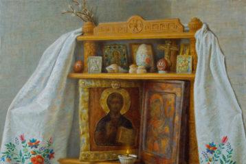 Пасхальный киот, холст, масло. Владимир Занога, 2013