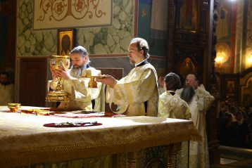 7 января. Праздничная Божественная литургия в Александро-Невском кафедральном соборе (фото Сергея Лотырева)