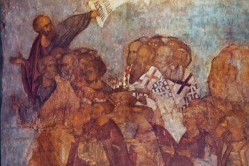 Андрей Рублев. Шествие праведников в рай. Фреска Успенского собора во Владимире. 1408 г.
